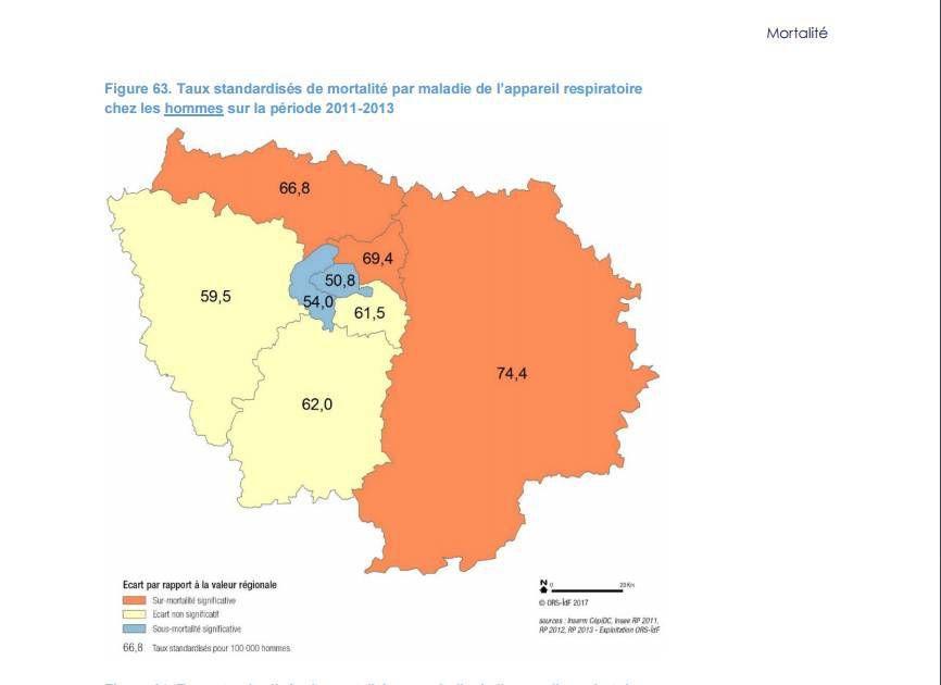 C'est en Seine et Marne que les hommes meurent le plus par maladie respiratoire d'IDF !