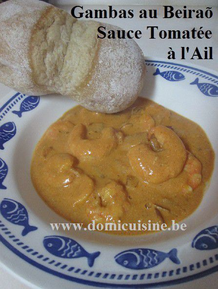 Gambas Flambées au Beiraõ, sauce Tomatée à l'Ail ...