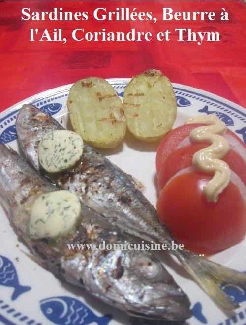 Sardines Grillées au Beurre Ail / Coriandre et Thym ...