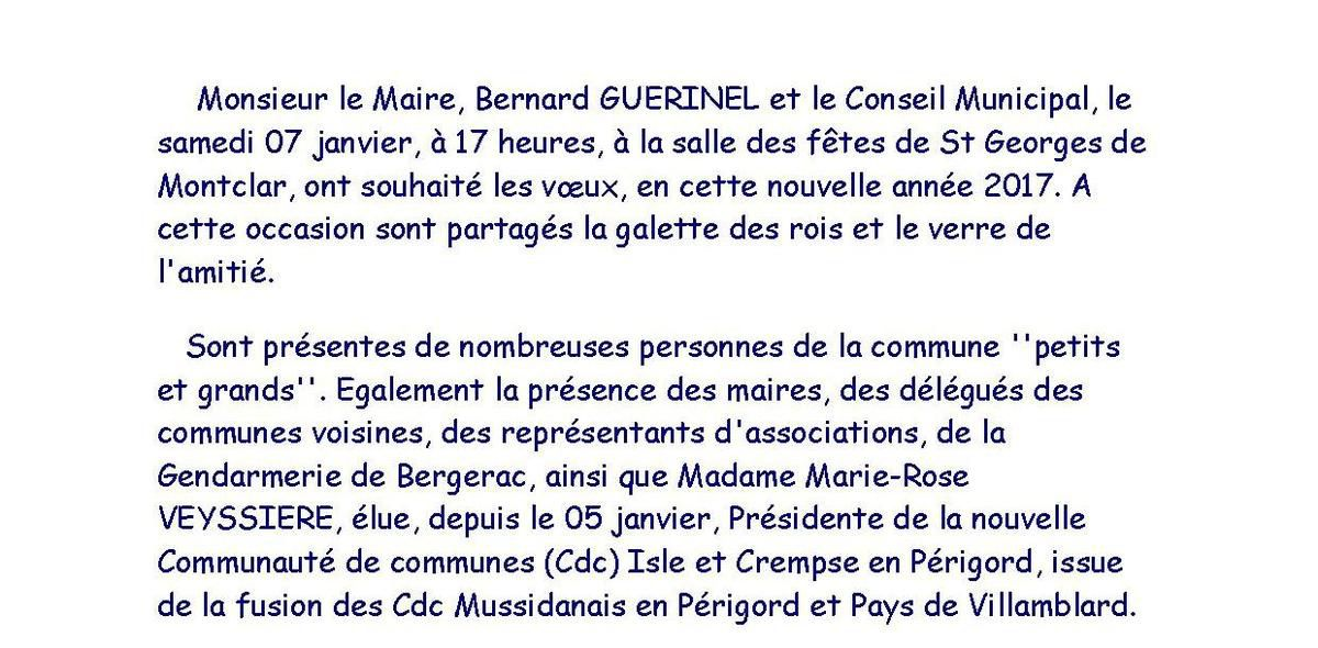 Présentation des voeux 2017 de M. le maire de St Georges de Montclar