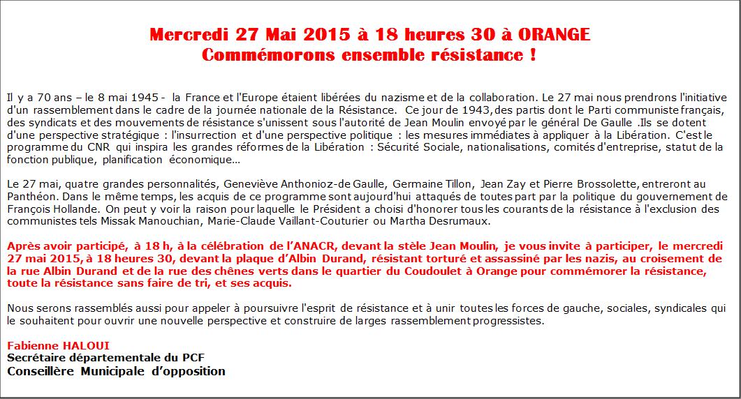 27 mai à Orange, hommage aux résistants
