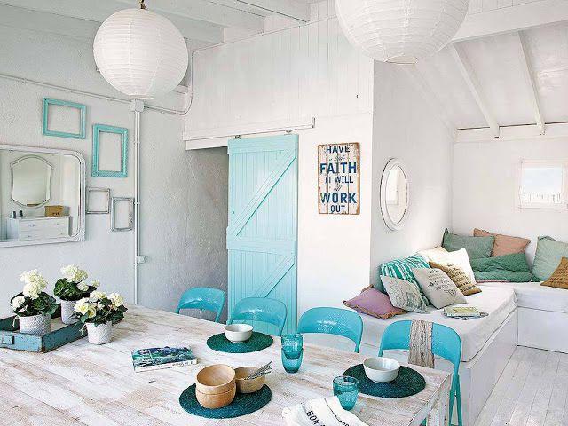Blanc et turquoise pour un int rieur de vacances a part for Arredamento casa como