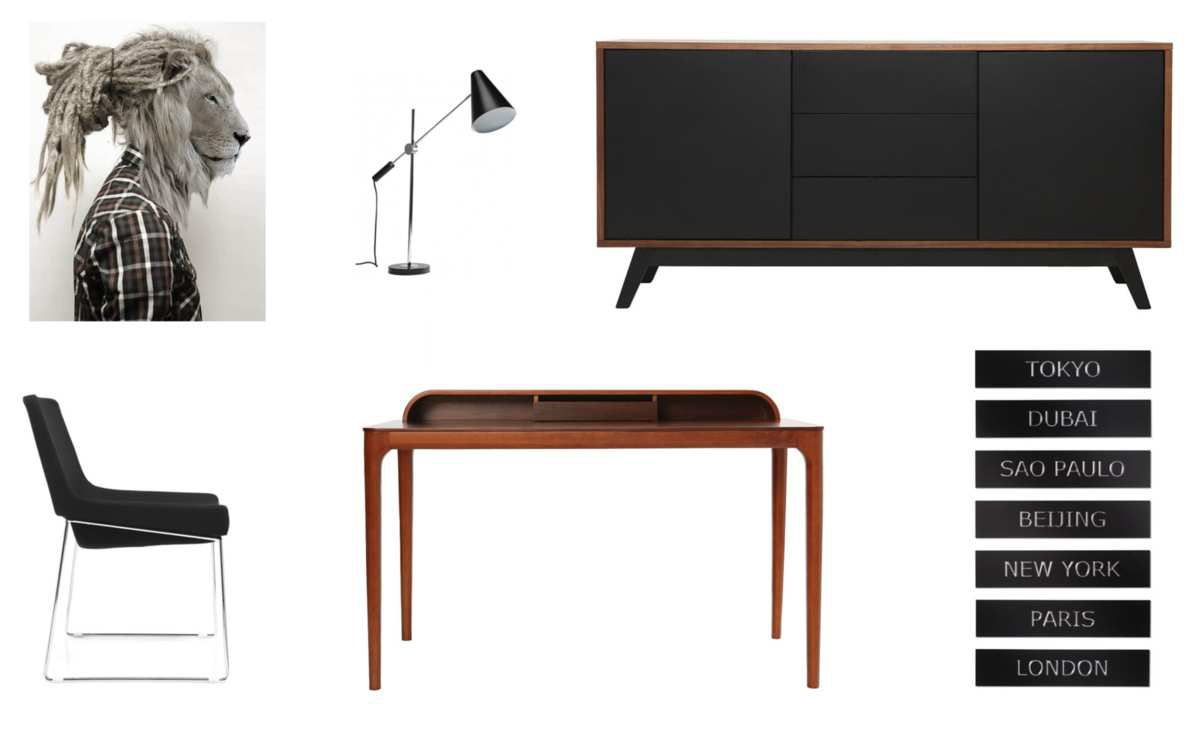 Bureau Vikko - Chaise Jacob - Buffet Norma - Lampe de table Trompet