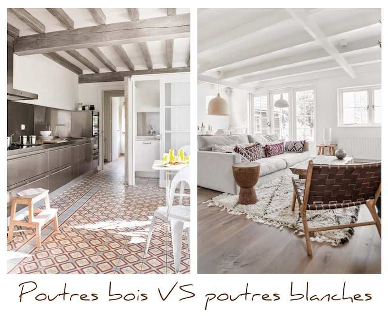 poutres teinte bois ou poutres peintes en blanc a part a. Black Bedroom Furniture Sets. Home Design Ideas