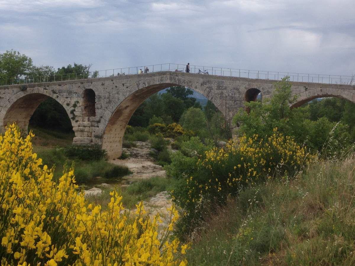Le Pont Julien,pont romain ,élégant et fleuri,un matin avant le lever du soleil!
