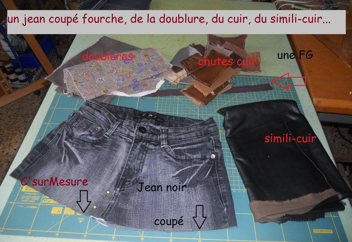 un vieux jean, des morceaux de cuir, de la doublure, du simili, voilà un nouveau sac pour y mettre toutes mes petites affaires !