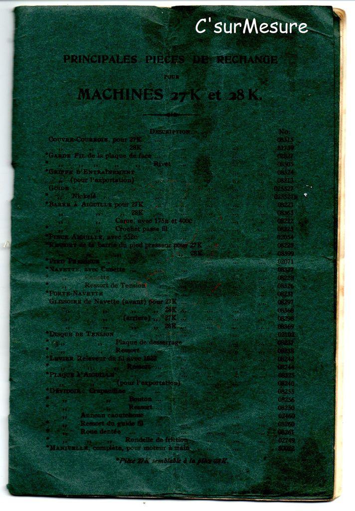 détails :  feuille des n°... pour pièces de rechange Machines 27K et 28K.