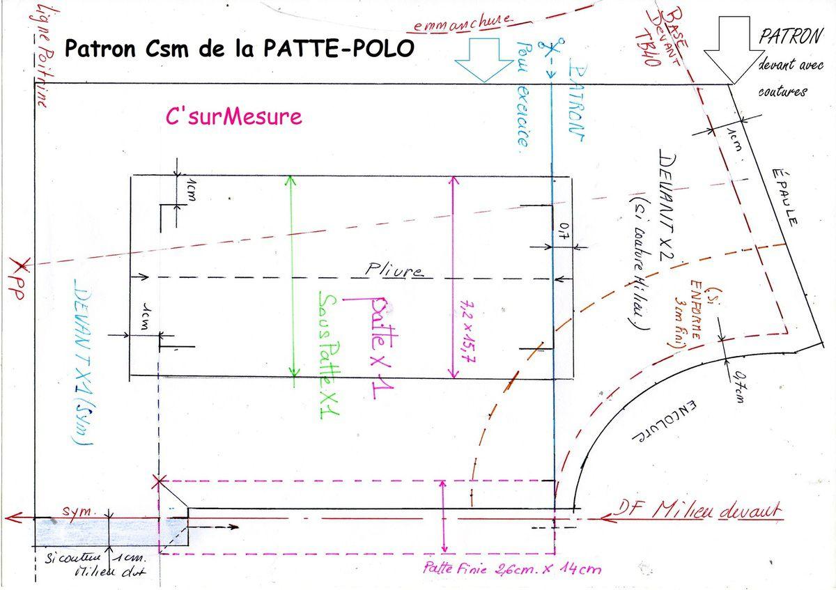 d'après devant de Base csm, 2,6 X 14 cm finie, tracé avec coutures comprises, milieux avec symetrie ou pas !