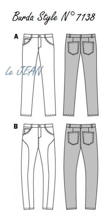 d'après le Jean : de Burda/style N°7138, T44 à 54 homme, 2versions A et B, téléchargable où papier sur le site Burda.