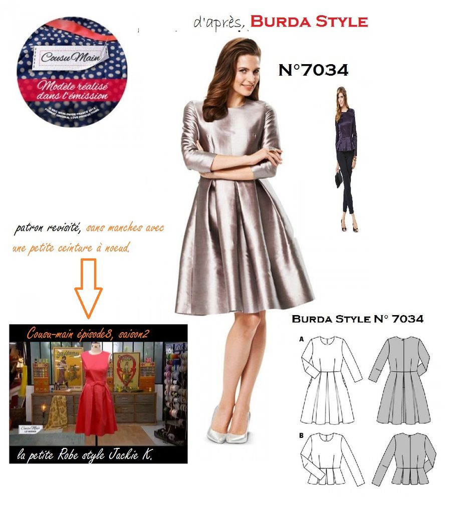 le patron imposé est en faite le Burda style N°7034, revisité sans manche + ceinture à noeud.( à telecharger ou en pochette, sur le site Burda)