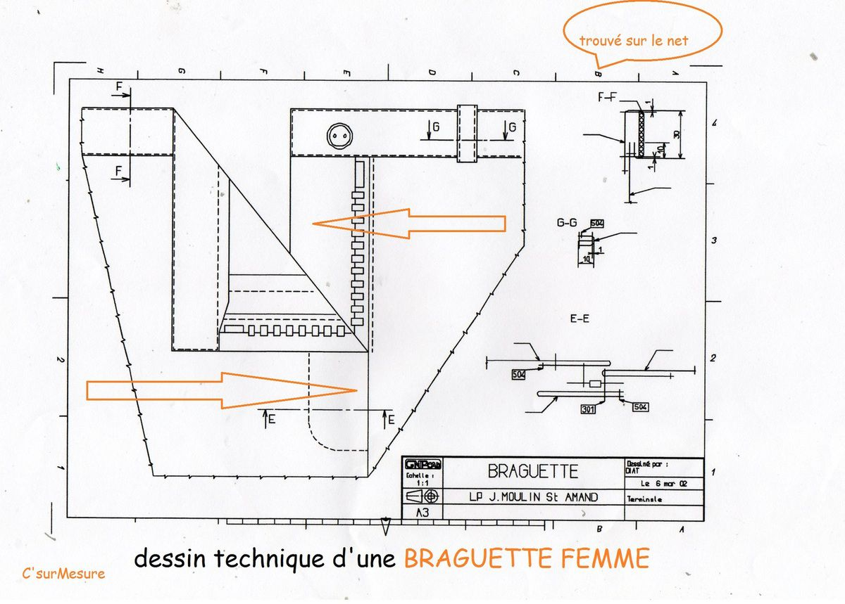 dessin technique braguette c 39 sur mesure. Black Bedroom Furniture Sets. Home Design Ideas