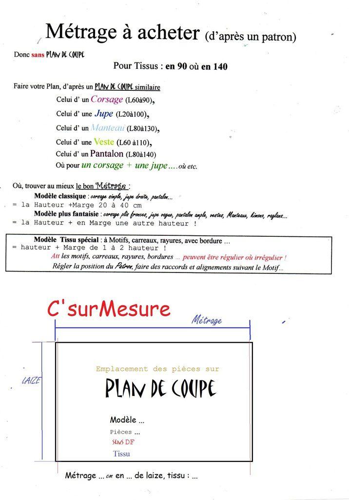 faire son Plan de coupe, s' inspirer d'un autre plan, où calculer env le Métrage !