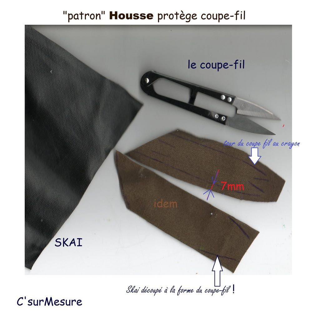 couper deux morceaux de simili avec la forme du coupe fil + coutures.