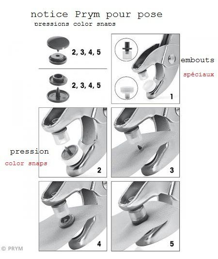 Notice : pressions Prym color snaps.