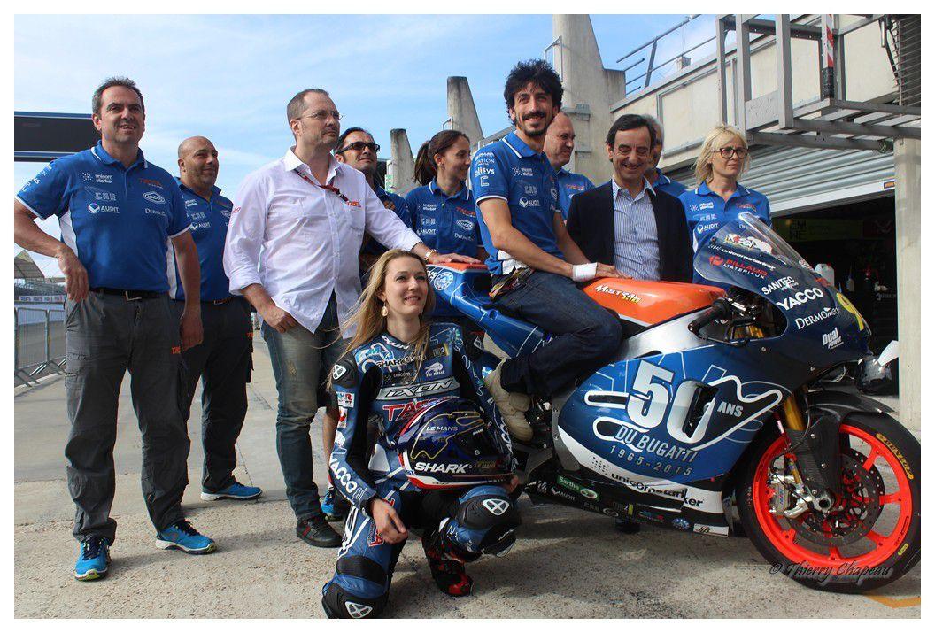 Le Mans, jeudi 14 mai 2015 sur le Circuit du Bugatti, Louis Rossi dévoile sa moto pour le Grand Prix de France. Photo «Respect-Sport» Thierry Chapeau.