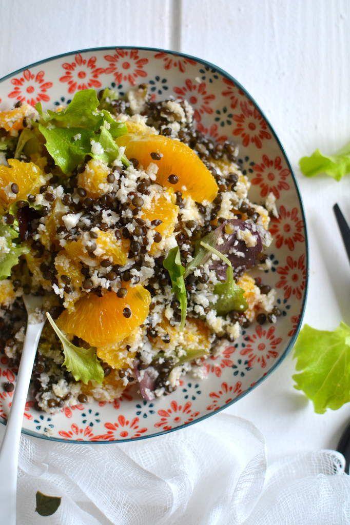 Salade de lentilles noires, chou-fleur et orange { Mi-cru, mi-cuit }
