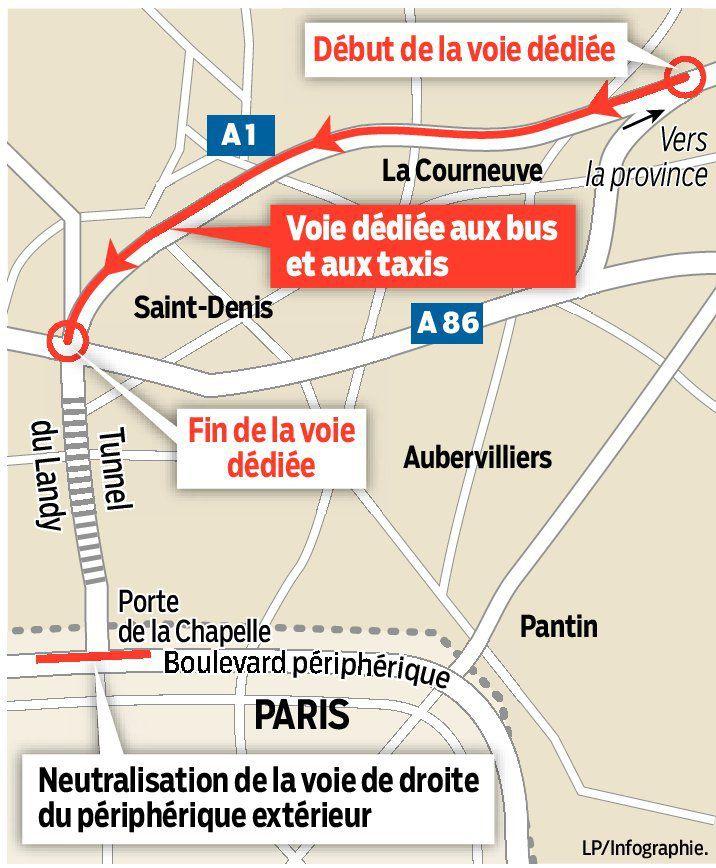 Une voie réservée aux bus et aux taxis ouvre le 29 avril 2015 sur l'autoroute A1