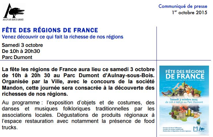 Fête des régions de France à Aulnay-sous-Bois