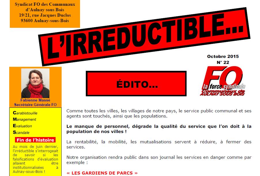 Journal d'octobre 2015 du syndicat FO des communaux d'Aulnay-sous-Bois