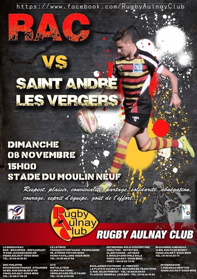 rugby aulnay club saint andr les vergers le 8 novembre 2015 aulnaylibre. Black Bedroom Furniture Sets. Home Design Ideas