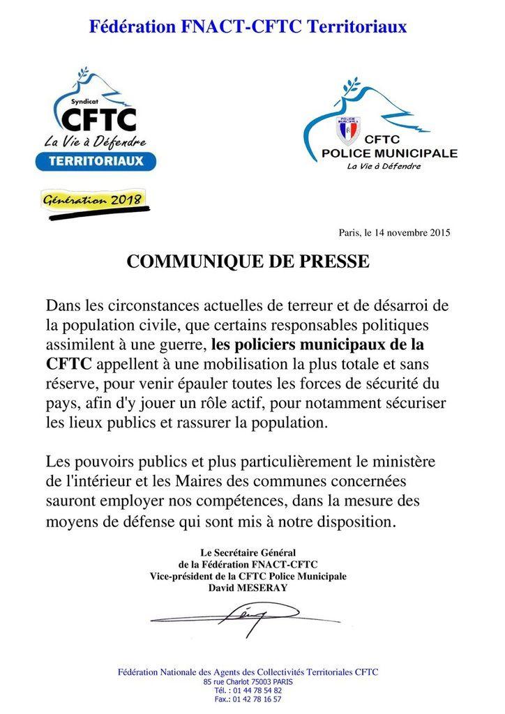 Les policiers municipaux CFTC appellent à la mobilisation totale pour aider les forces de sécurité de la France