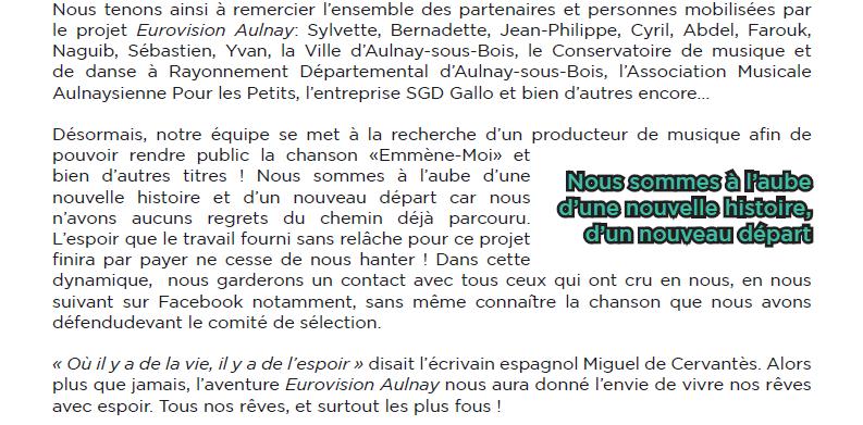 Aulnay-sous-Bois pas retenue pour l'Eurovision 2016 c'est officiel !