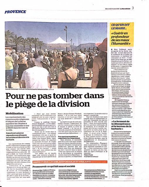 """L'invitation à la marche relayée par """"La Marseillaise"""" le 9 août"""