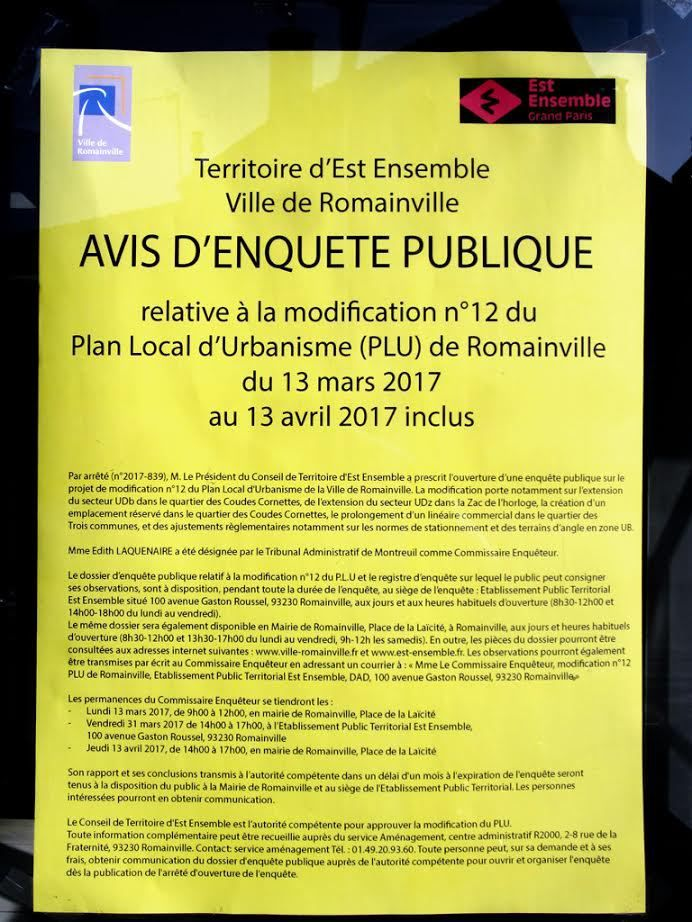 PLU de Romainville : et de douze modifications !