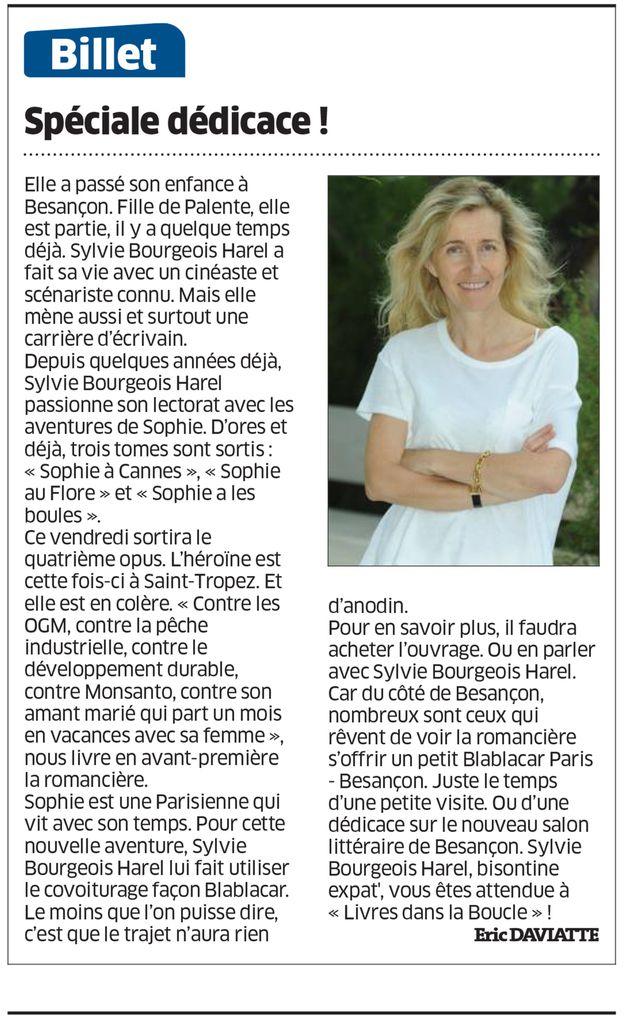 Sylvie Bourgeois Harel - Est Républicain. juillet 2016