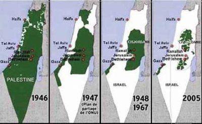 """L'évolution du terriroire Palestinien occupé de plus en plus par les """"terroristes"""" sionistes"""