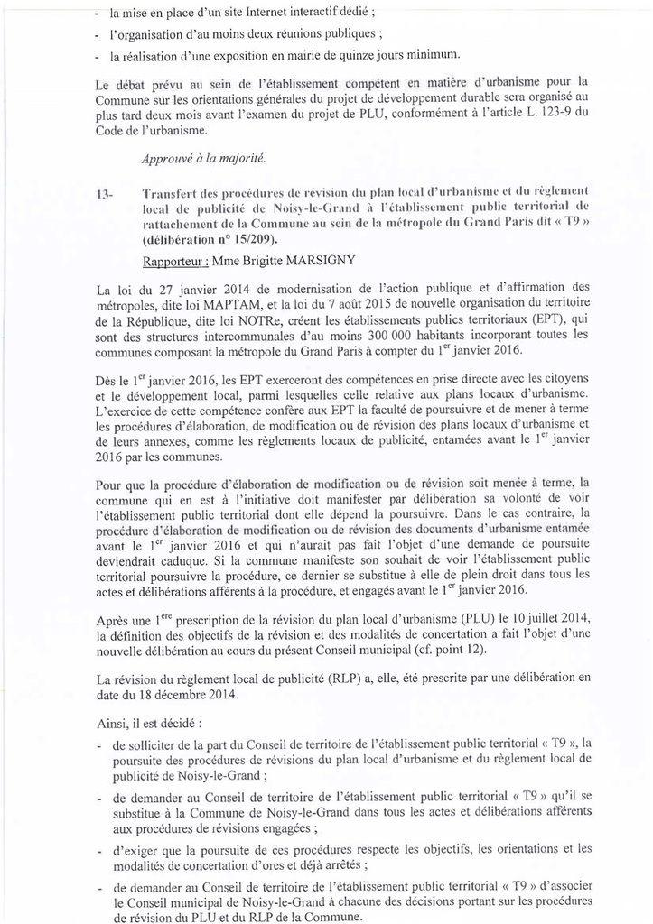 Prescription de la révision du PLU de Noisy-le-Grand, délibération n°15208, du 15 12 2015