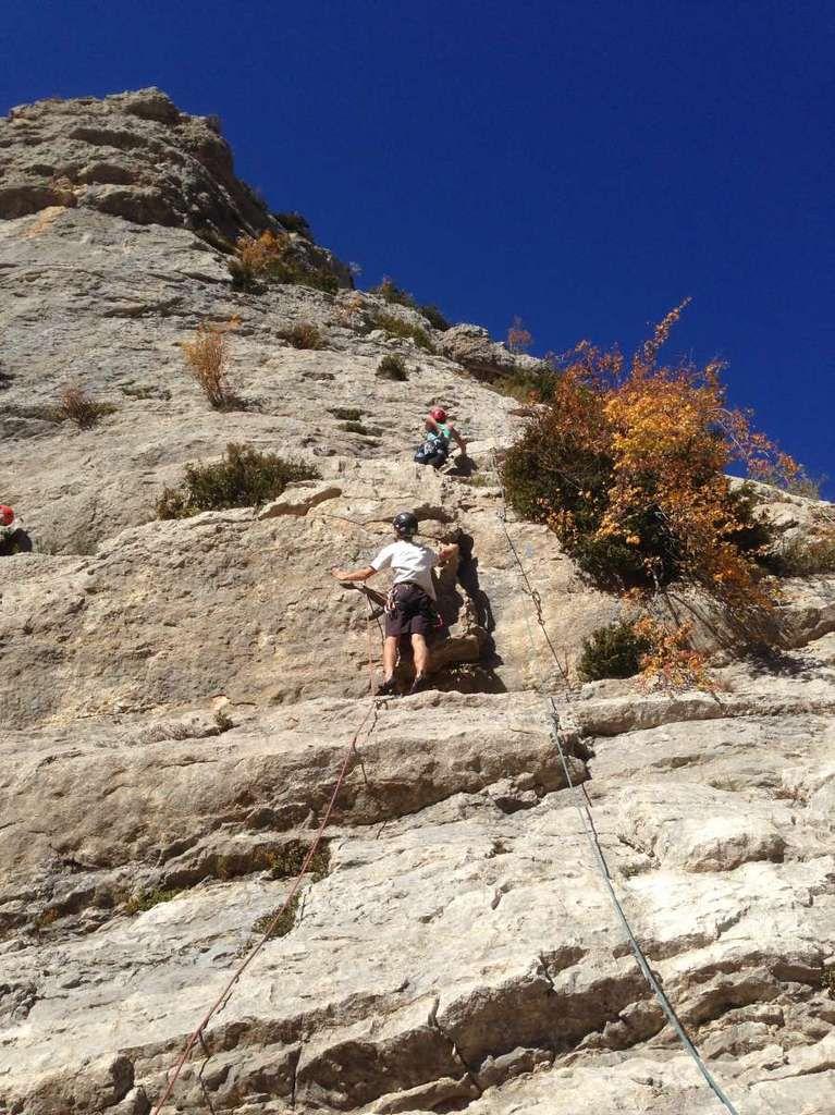 Week end à Orpierre avec les grimpeurs de la session d'initiation d'octobre.