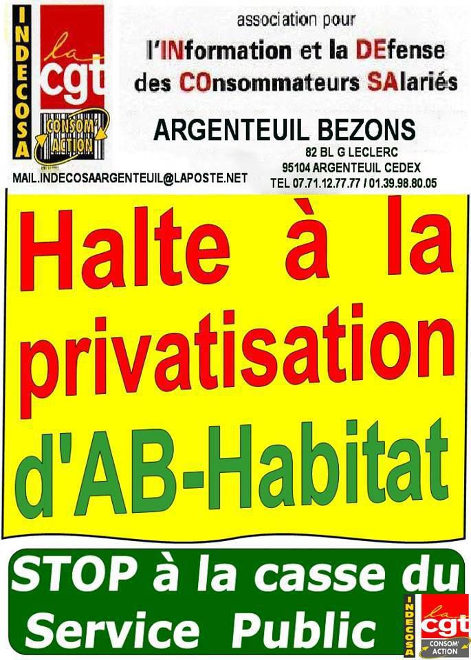Indecosa CGT Argenteuil Bezons s'oppose à la privatisation d'AB-Habitat
