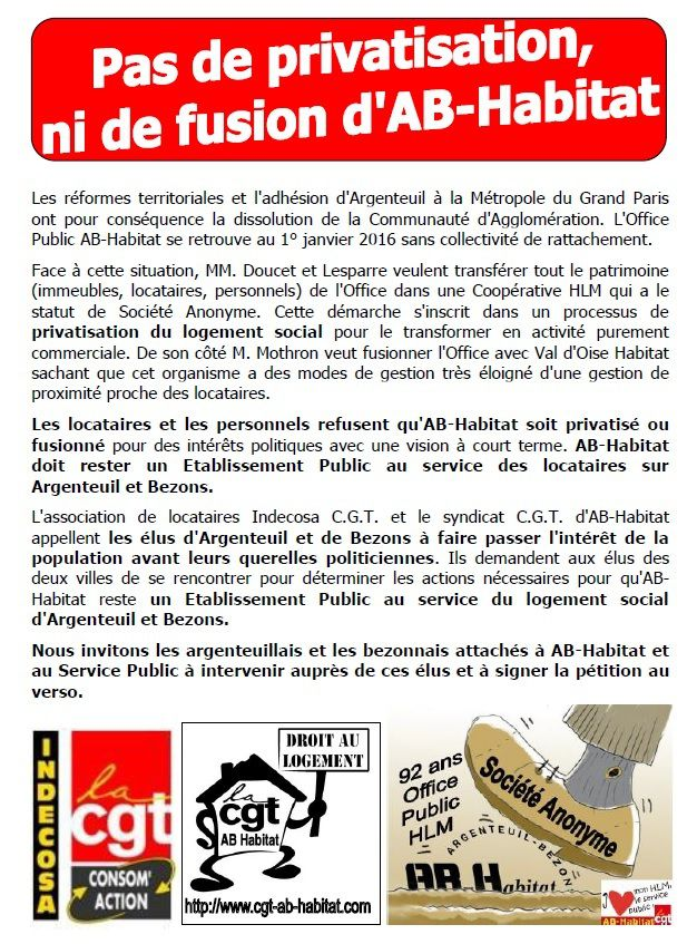 Pétition contre la privatisation d'AB-Habitat