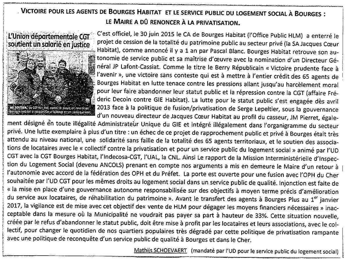 Bourges Habitat : victoire contre la privatisation de l'OPH