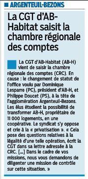Le Parisien : la CGT d'Ab-Habitat saisit la chambre régionale des comptes