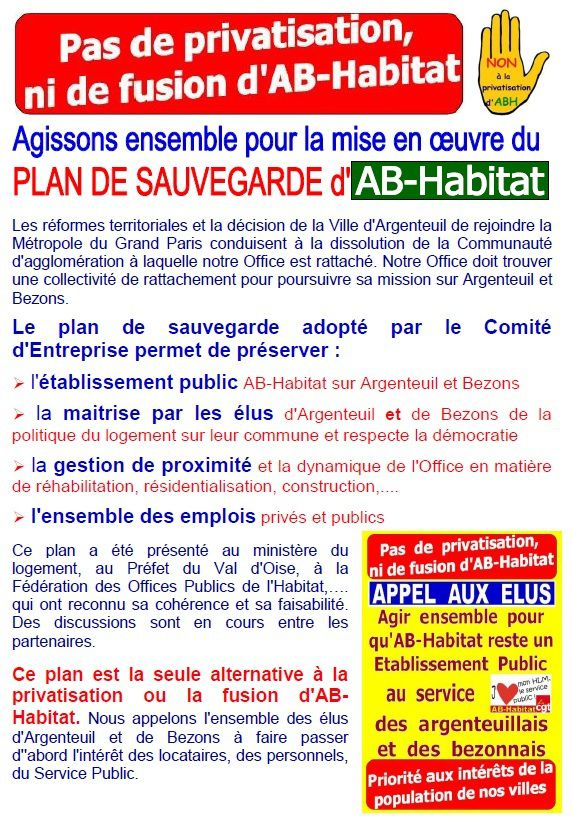 Plan de sauvegarde de l'établissement public AB-Habitat