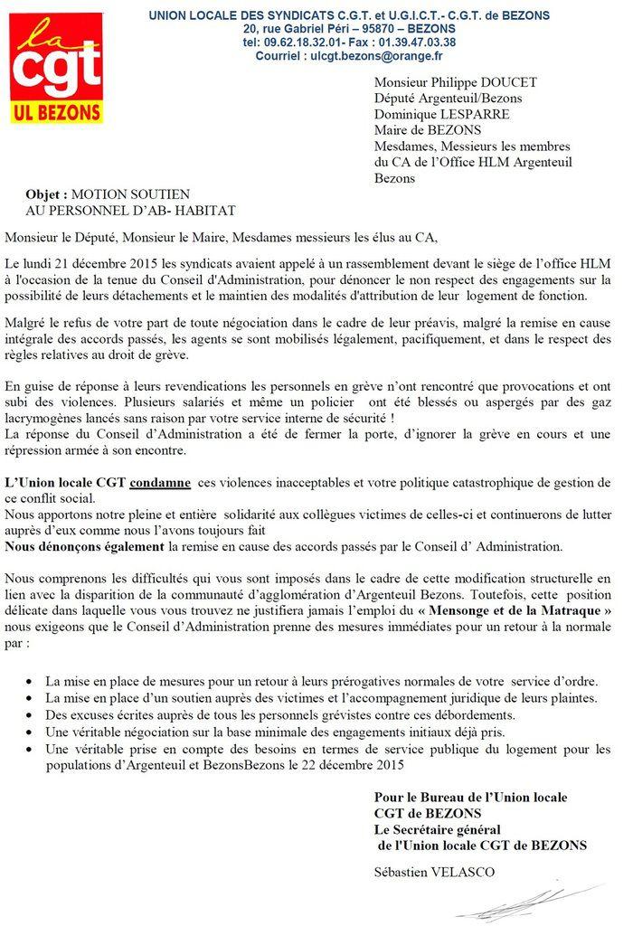 Suite aux violences : motion de soutien de l'UL de Bezons