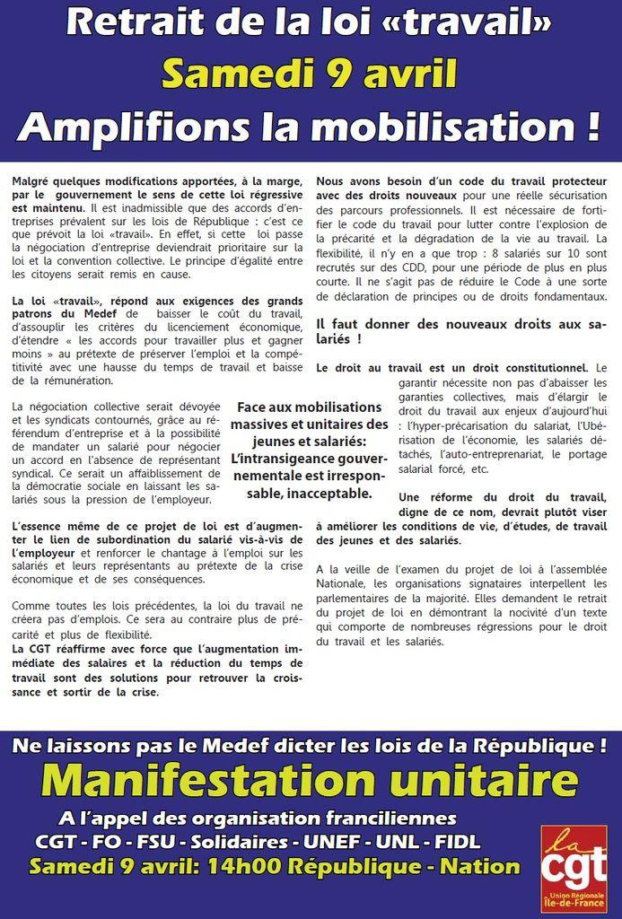 Retrait loi travail : amplifions la mobilisation le 9 avril