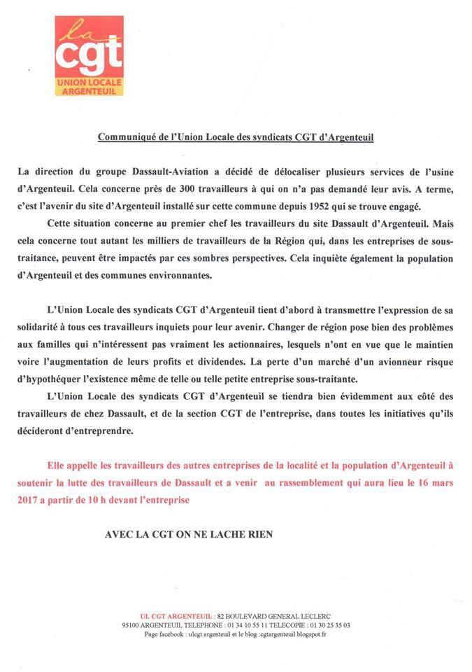 Agir contre le démantèlement progressif de Dassault Aviation Argenteuil