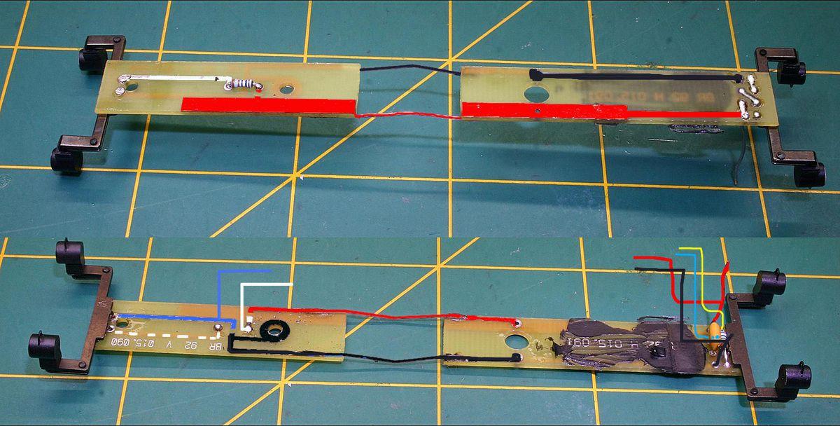 En rouge le circuit d'alimentation rail droit et en noir le circuit d'alimentation rail gauche ce dernier est relié à la masse par le bloc lest.