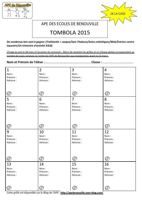 Grille tombola 2015