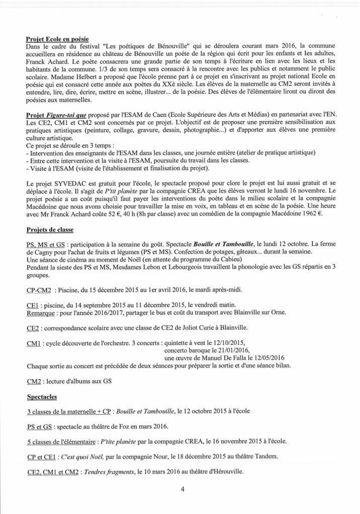 Compte-rendu du Conseil d'école - 6 nov 2015