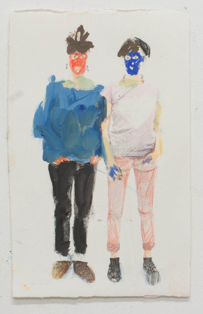 """Etude pour"""" les soeurs Love"""", huile et crayon sur papier, 29x18cm, 2014"""