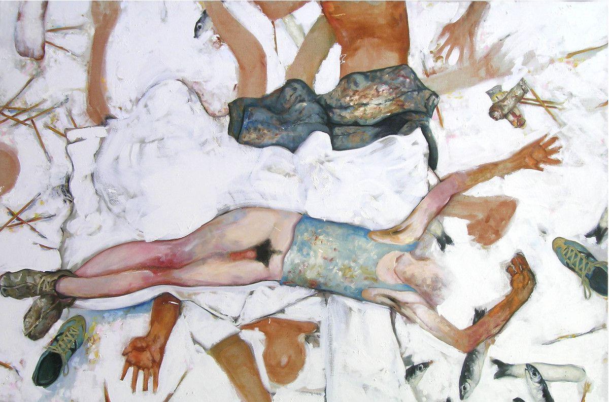 Dans l atelier, huile sur toile, 130x195cm, 2007