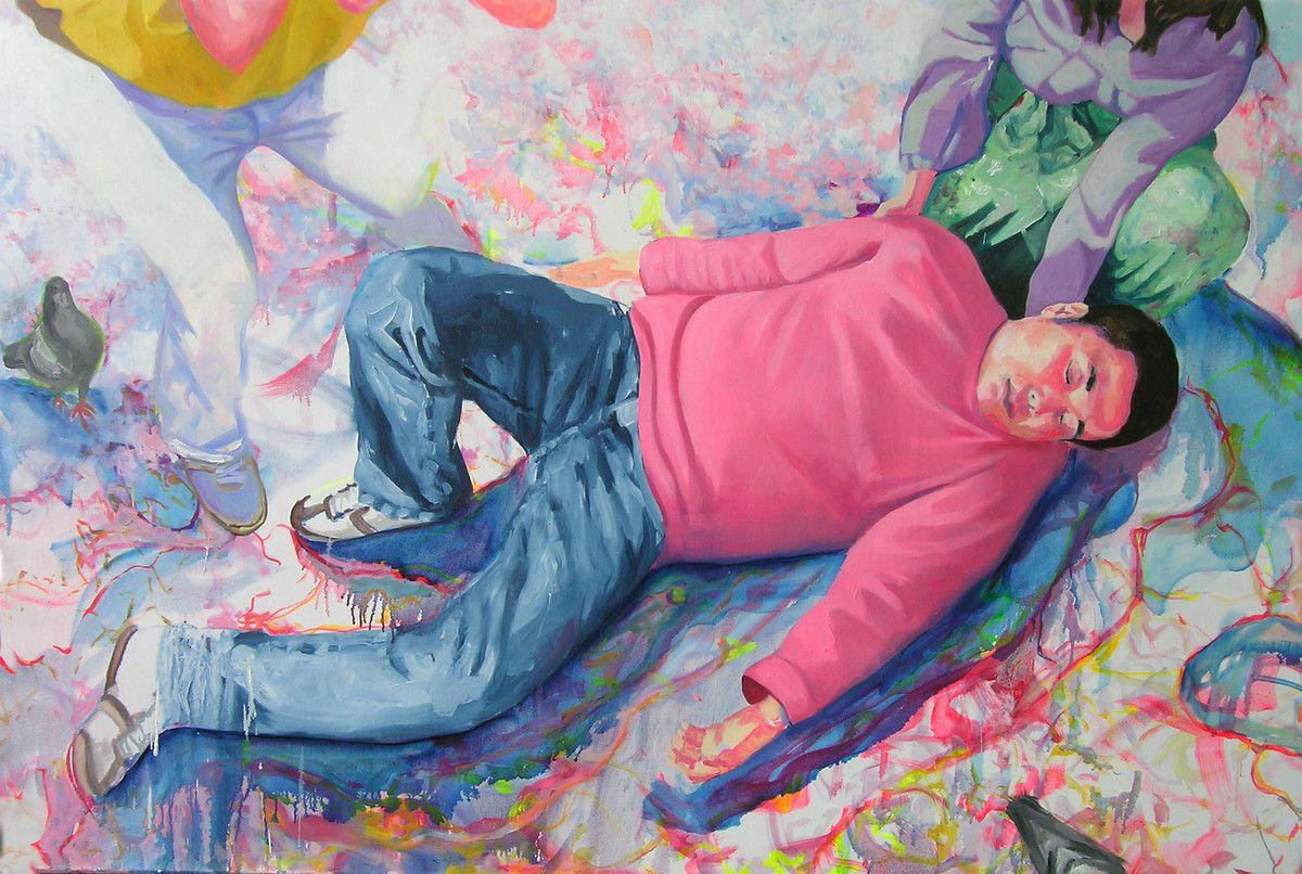 Ding li gisant, huile sur toile, 130x195cm, 2008