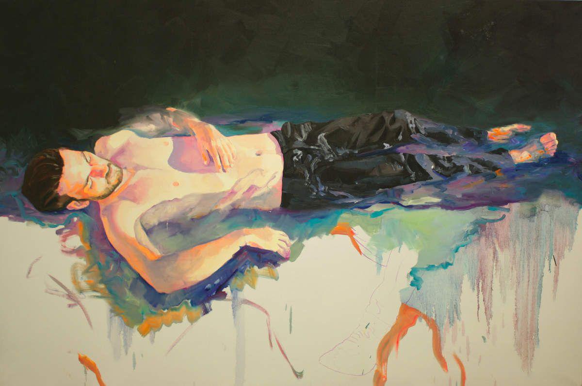 Peintre au soleil2, huile sur toile, 130x195cm, 2013
