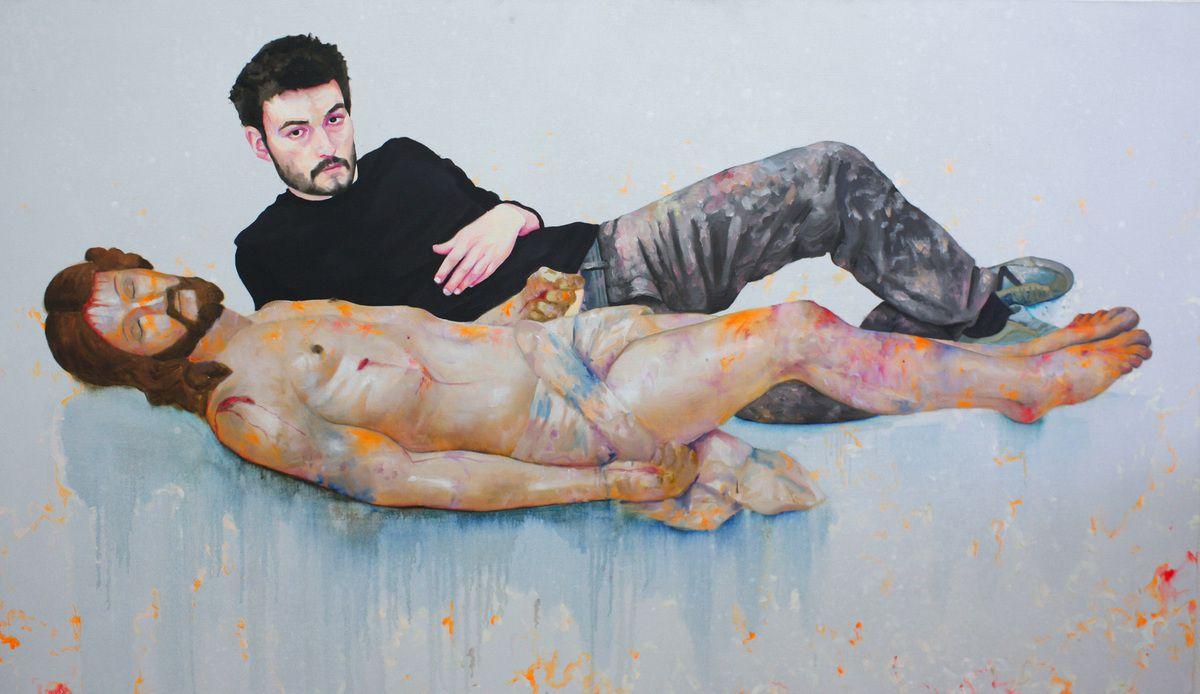 Autoportrait en peintre après la sieste, huile sur toile, 117x195cm, 2011