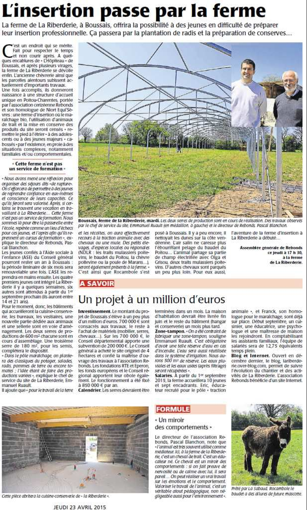 article Courrier de l'Ouest par Guillaume RAINEAU