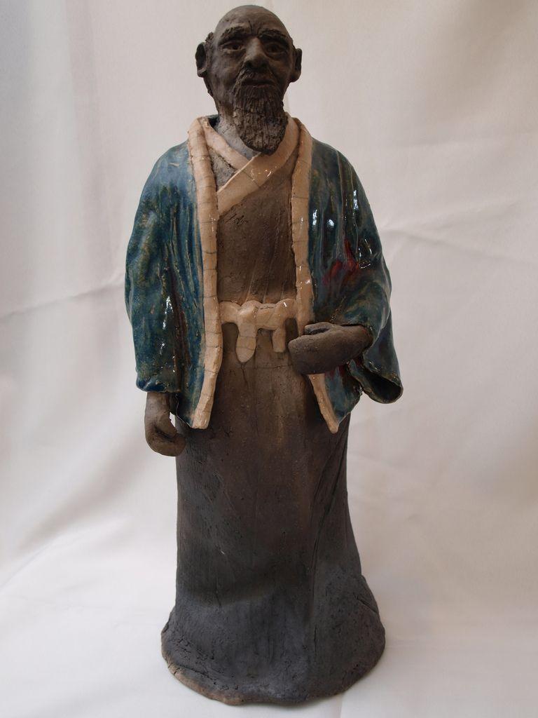 Maitre Oeshiba fondateur de l'aïkido une création céramique datant de 1998